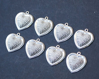 Vintage Lot of 8 Heart Silver Toned Charm Pendants New Old Stock - 3 Dimensional