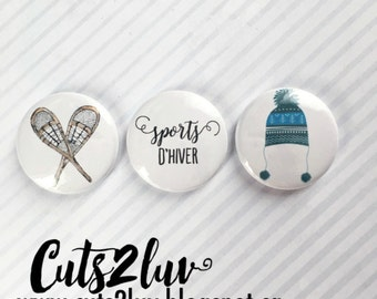 "3 buttons 1 ""Winter Sports"
