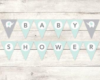 baby shower banner printable DIY bunting banner elephant sage green grey polka dots hanging banner digital triangle - INSTANT DOWNLOAD