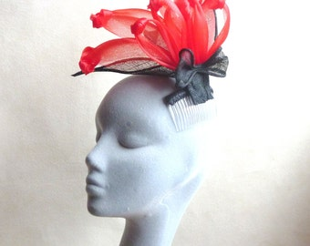 Red Crin Hazel Fascinator with Black Leaves Perfect for a Wedding, Cocktail Party, Kentucky Derby, Ascot Races,