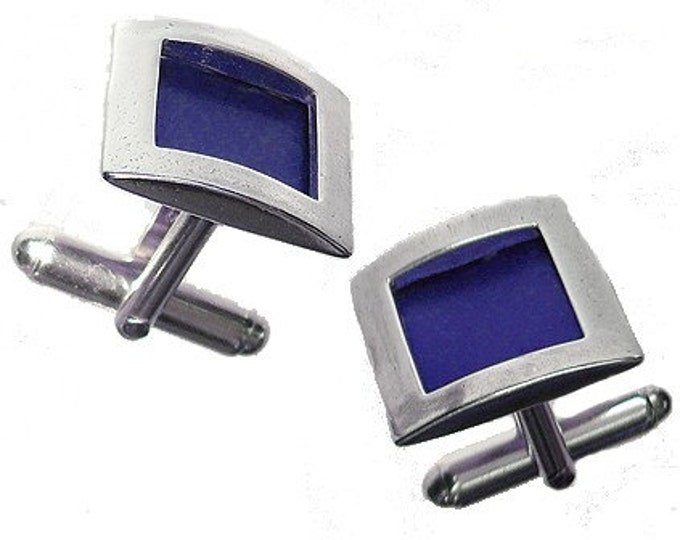 Recycled aluminum/sterling silver square cufflinks in Blue