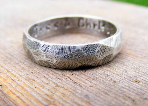 Palladium Sterling Silver Wedding Ring, Mens Textured Ring Band, Rustic Worn Organic Textured Ring Band