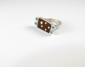 Sterling Silver Ring, Ladybug, Turquoise, Chocolate, Modern, Contemporary