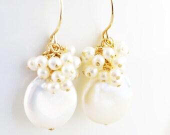 Coin Pearl Earrings, Cluster Earrings, June Birthstone Jewelry, Winter Earrings, Bridesmaid Gift