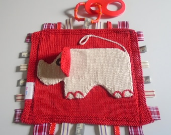 Hand knitted Baby Cotton Ellie Elephant Comfort/Security Taggie Blanket - Ready to Ship!