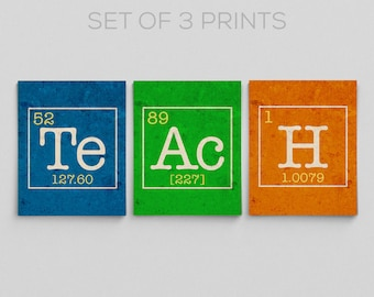 Custom Teacher Gift Personalized Teacher Gift of Periodic Elements Teachers Classroom Nerdy Print Science Art Unique Gifts for Teachers Gift