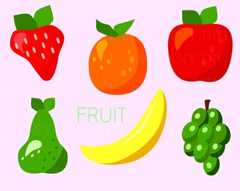 Fruit Clipart, Apple Clip Art, Grapes Clipart, Banana Clipart, Orange Clipart, Strawberry Clipart, Pear Clipart