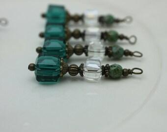 Emeral Green Square Cube Crystal Earring Dangle, Pendant, Earrings, Jewelry Making