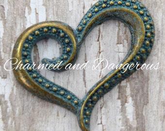 Antique Bronze Patina Dotted Heart pendant (P38)