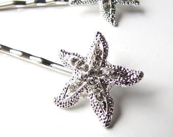 Rhinestone Starfish Hair Clips Pins, Beach Wedding Silver Sparkle Bobby Pins Set of 2