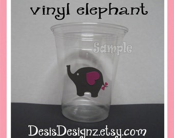 24 Girl Baby shower assorted vinyl decal 12 oz. 16 oz or 20 oz. clear party cup Shower decoration girl sprinkle party Elephant vynil