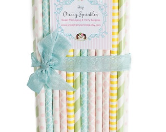 NURSERY RHYME -Pastel Paper Straws -Pink Straws -Blue Straws -Mint Party Supplies -Baby Shower -Gender Reveal -Spring Decor -Easter -Nursery