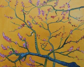Almond tree blossom oil painting