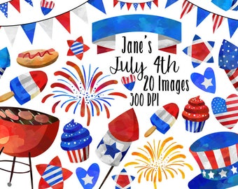 Watercolor 4th of July Clipart - Cute July Fourth Download - Instant Download - Patriotic - BBQ - Bunting - Fireworks - and more!