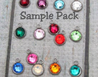 Sample pack of 2 styles of stainless steel bezel setting and swarovski birthstone crystals