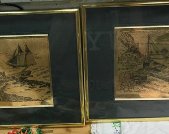 Gold Foil Etchings Lionel Barrymore Rocky Point and Nantucket