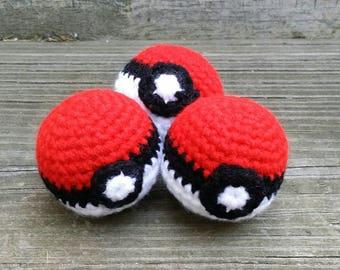 Pokeball Pokemon Inspired Crochet Catnip Cat Toy Gift SET OF THREE