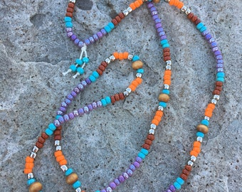 Long Beaded colorful Necklace, hippie jewelry, pattern beaded necklace, cord slip on necklace, festival jewelry