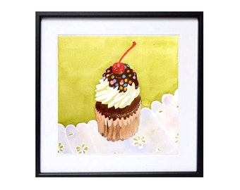 Watercolor Painting Cup ake Art, Watercolour Printings dessert art, Kitchen art, Kitchen wall decor,cake painting Cake wall decor art