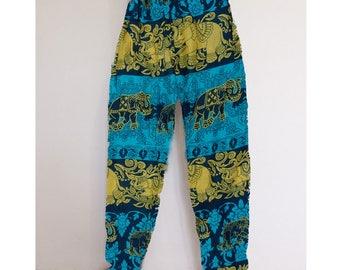 Thai harem pants Yellow-Green - Lapin.DIY