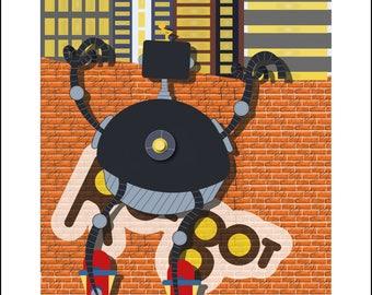 Robot peeping up Poster