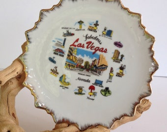 Vintage Las Vegas Souvenir Plate Las Vegas Strip Mid Century Las Vegas Rat Pack Vegas Historic Las Vegas Vintage Casinos