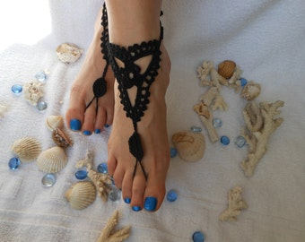 Crochet Barefoot Sandals Beach Wedding  Yoga Shoes Foot Jewelry Black