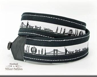 Camera strap, DSLR, SKYLINE, black & white camerastrap, different citys to choose