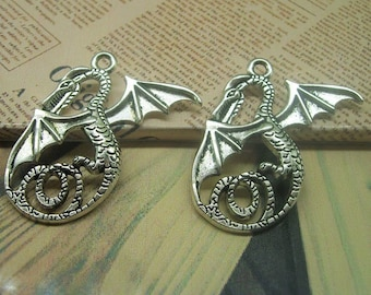large dragon wings, silver pendant 37 x 31 mm