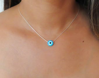 Blue Opal necklace, opal evil eye necklace, Lucky necklace, opal silver necklace, opal jewelry, evil eye necklace, October birthstone