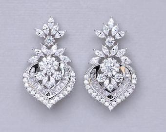 White Gold Crystal Earrings, Bridal Earrings, Crystal Bridal Jewelry, Taylor