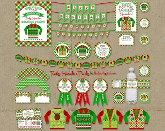 Ugly Sweater Party Package - Holiday Decorations Favors Awards - DIY digital file U Print