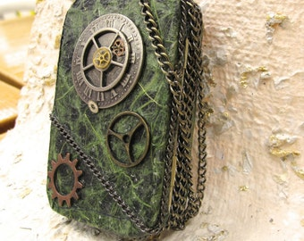 Steam Punk, Steampunk, Credit Card Case, Altered Tin Box, Cosplay Accessory, Costume Accessory, Change Purse, Metal Wallet, Made To Order