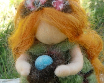 Cherry Blossom Standing Maiden with Robin's Nest --Made to Order -  Waldorf Inspired By Rebecca Varon