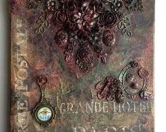 """OOAK Mixed Media Canvas Art """"Grande Hotel Paris"""""""