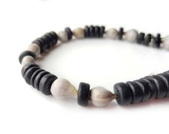 Tribal men's bracelet - wooden bracelet with home grown seeds - Northwoods Job's Tears