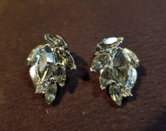 50% OFF SALE!!! Vintage Kramer Rhinestone Clip Earrings