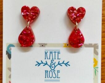 Heart & drop studs - Sparkly Hearts - heart earrings - pink glitter stud earrings - Laser cut acrylic earrings - Acrylic earrings