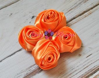 "Tangerine Orange Satin Rosette - 2"" inch size - satin rose flowers - rolled soft rosette - Set of 4 or 8 pieces"
