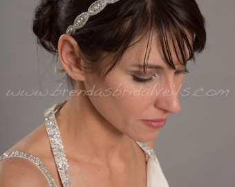 Rhinestone Ribbon Tie On Headband, Wedding Hairband, Bridal Headband - Sybil