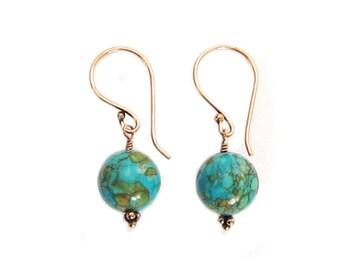 14mm Turquoise Bead Dangle Drop Artisan Earrings Copper Earwires
