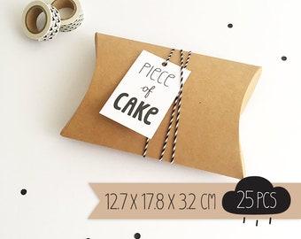 Pillow box / kraft brown / large / 12,7 x 17,8 x 3,2 cm / 25 pieces