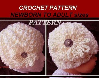 crochet PATTERNs -HAT, newborn baby to adult sizes.Crochet for beginners, instant download #1