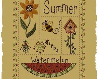 Summer Sampler-Version 1--5x7--Primitive Embroidery Design--INSTANT DOWNLOAD