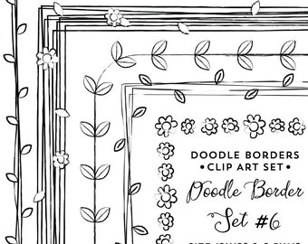 Doodle Border Clipart, Frame Clip Art Instant Digital Download, Commercial Use