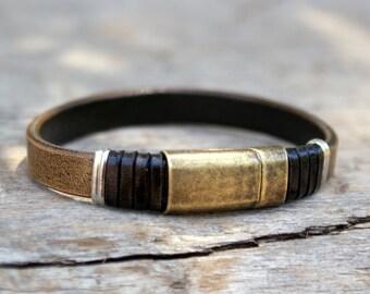 leather bracelet, mens leather bracelet,  mens jewelry, ,leather wristband, leather band bracelet, boho bracelet, mens gift for summer
