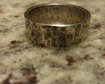 Hand hammered Silver half dollar coin ring.