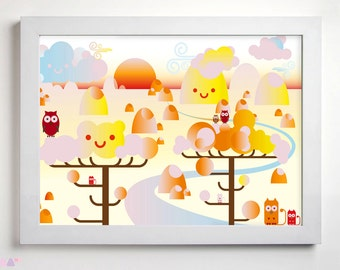 Landscape sunset Illustration, Printable Wall Art, Pastel Colourful Poster Animals funny Details, Nursery Children Room Decor, Digital Print