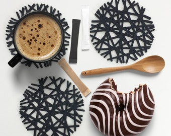 Felt coaster set-Trunk,Handmade Drink Coaster Set,Absorbent Coasters Eco Friendly,Housewarming Gifts,Drinkware,Home Decor