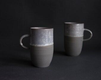 Handmade handcrafted wheel thrown tea or coffee cup mug winter snowflake crystals